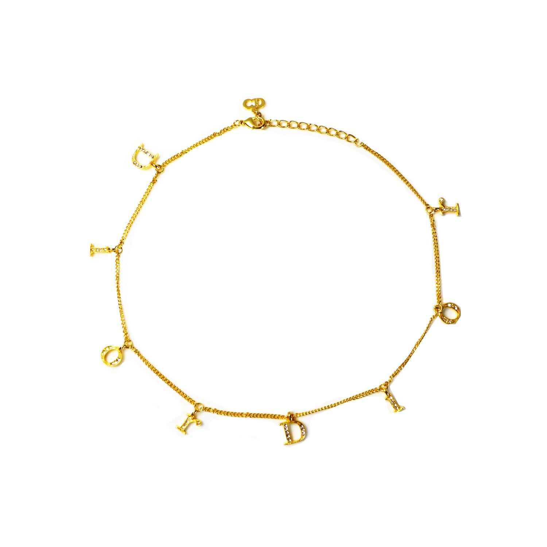 Vintage Dior Diamante Logo Spellout Necklace in Gold | NITRYL