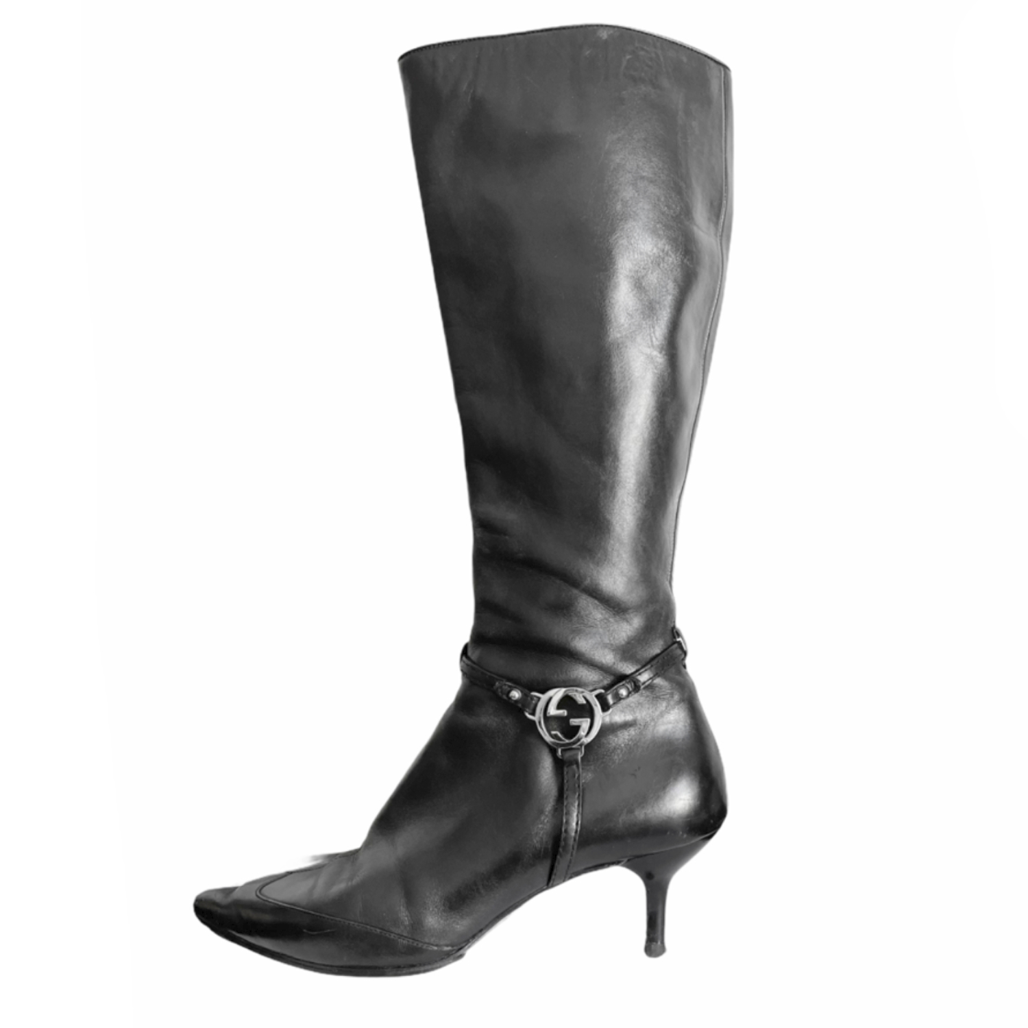 Vintage Gucci Logo Leather Boots in Black Size 5 | NITRYL