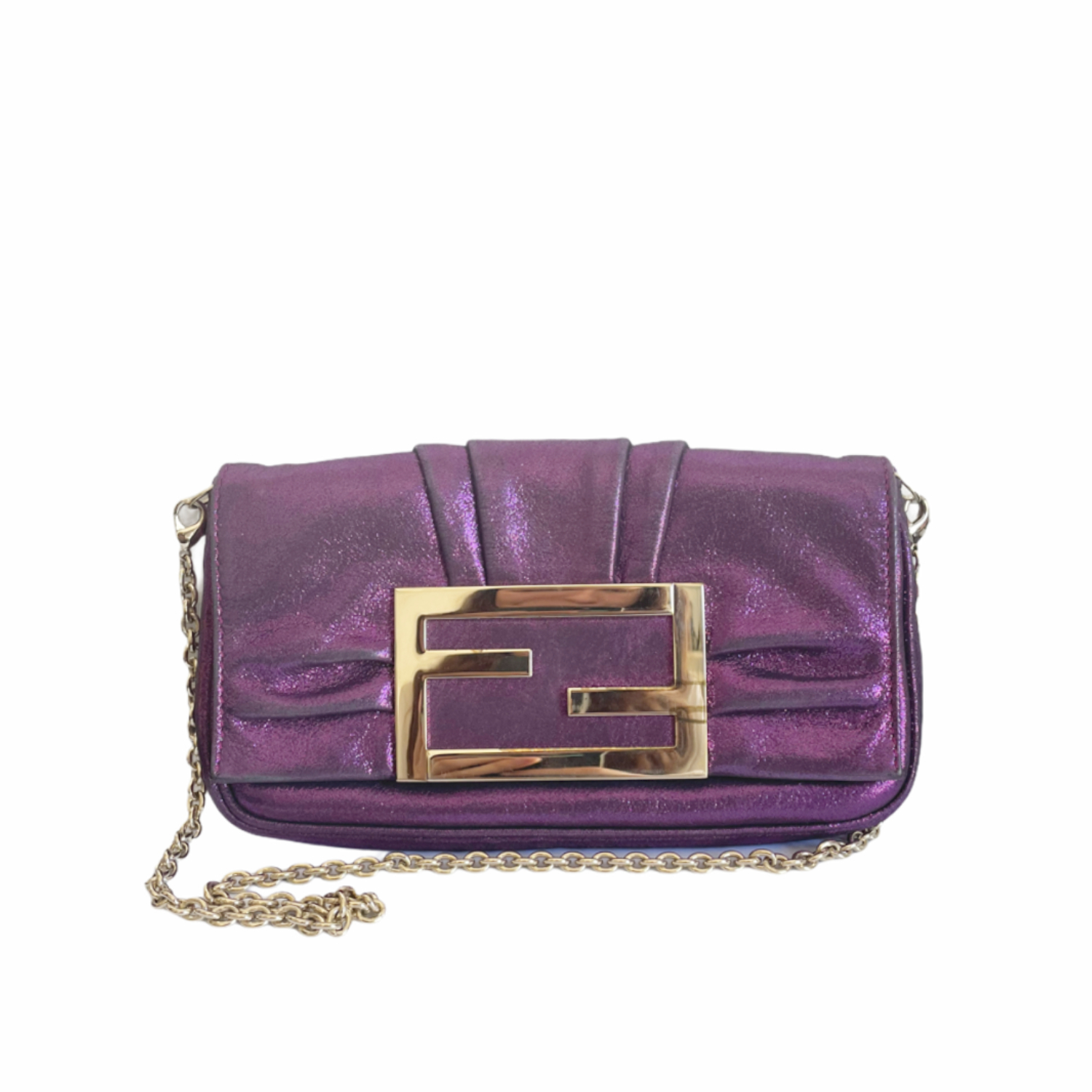Fendi Shiny Mini Shoulder Bag in Purple and Gold | NITRYL