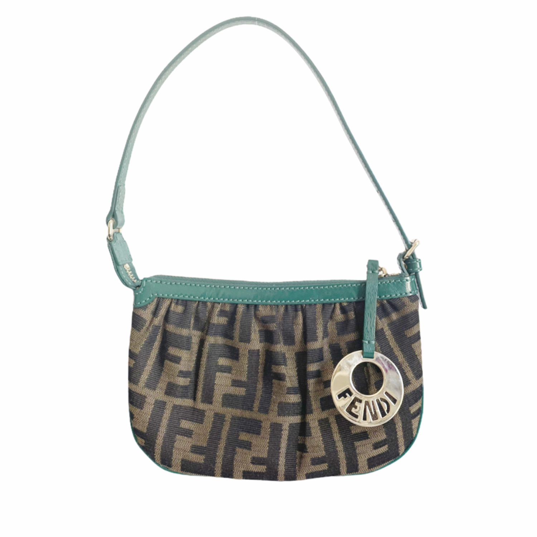 Vintage Fendi Zucca Monogram Mini Shoulder Bag in Brown and Green | NITRYL