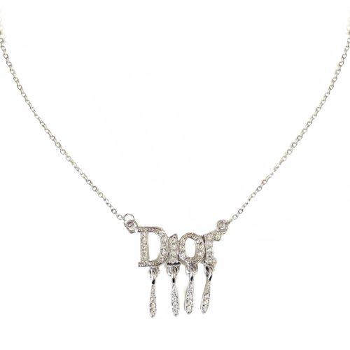 Vintage Dior Diamante Spellout Logo Drip Necklace in Silver | NITRYL