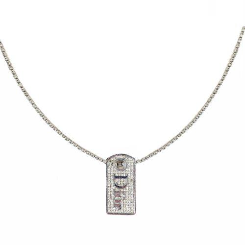 Vintage Dior Diamante Dog Tag Necklace on Tennis Chain in Silver | NITRYL