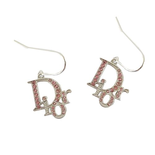 Vintage Dior Diamante Logo Earrings in Silver and Pink | NITRYL