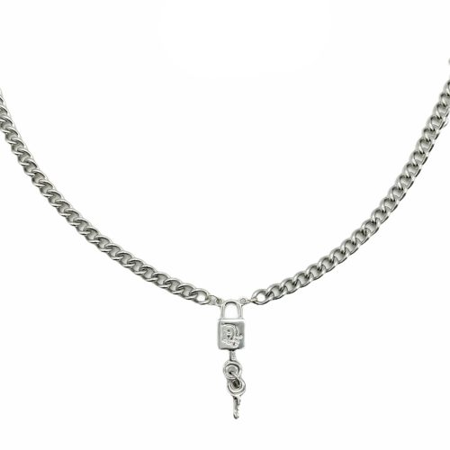 Vintage Dior Reworked Padlock Necklace in Silver | NITRYL