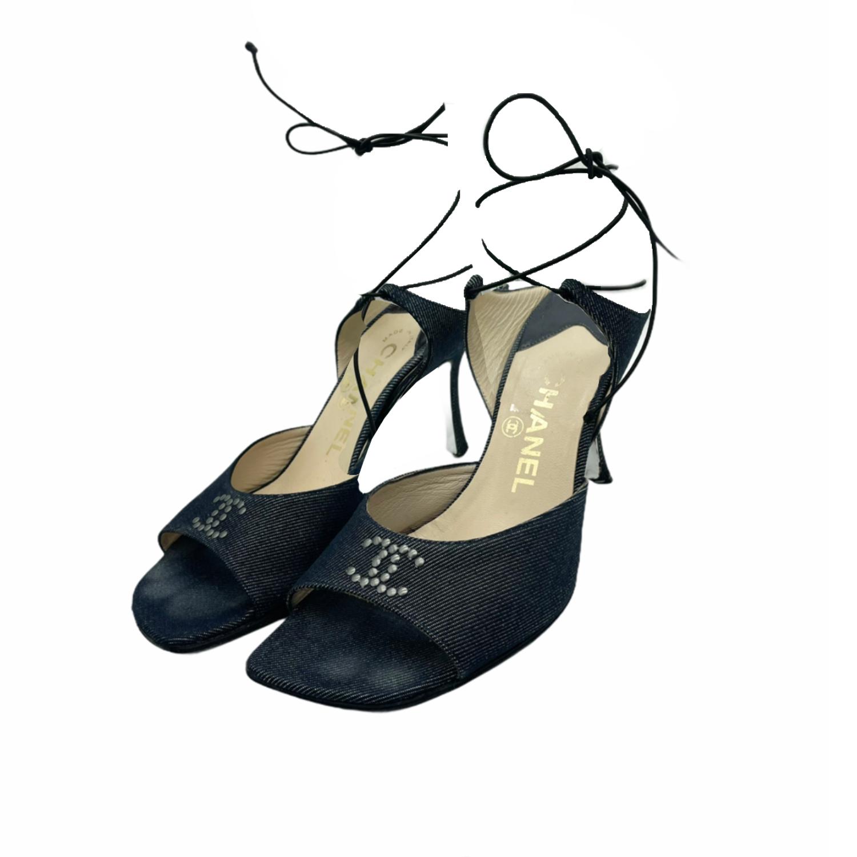Vintage Chanel Denim Square Toe Heels Size 3 | NITRYL