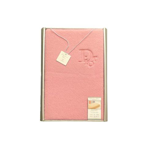 Vintage Dior Embroidered Logo Blanket in Pink   NITRYL