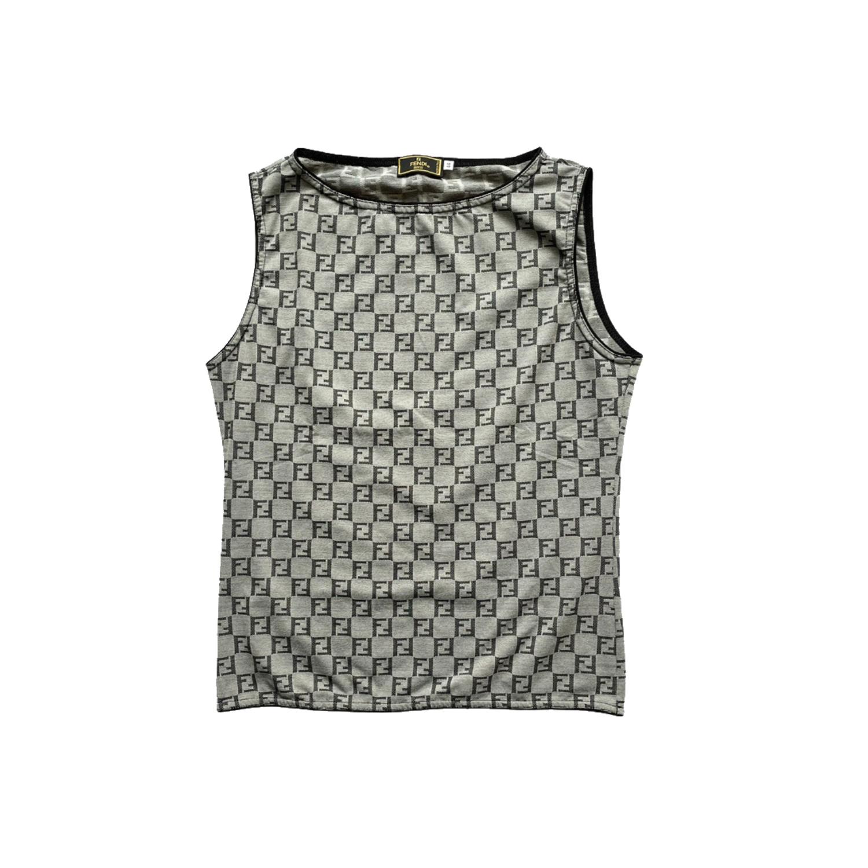 Vintage Fendi Monogram Vest Top in Grey Size M | NITRYL