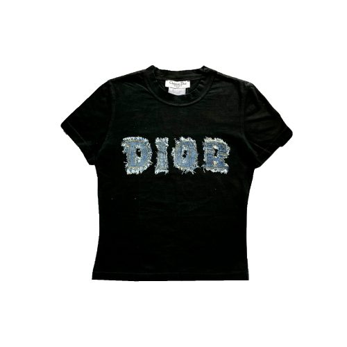 Vintage Dior Spellout Denim T-Shirt in Black | NITRYL