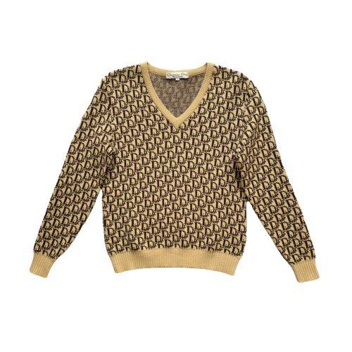 Vintage Dior Monogram Knitted Jumper in Beige Size M | NITRYL