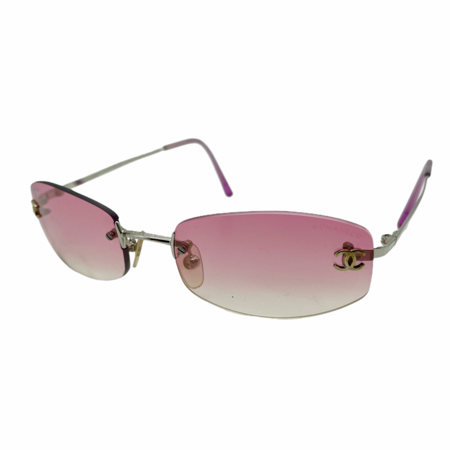 Vintage Chanel Rimless Tinted Sunglasses in Pink | NITRYL