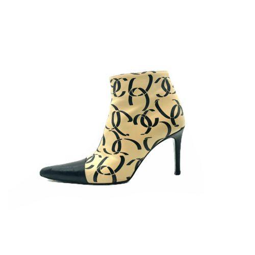 Vintage Chanel Monogram Ankle Boots in Beige/Black