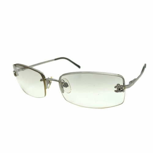 Vintage Chanel Diamante Rimless Sunglasses in Silver