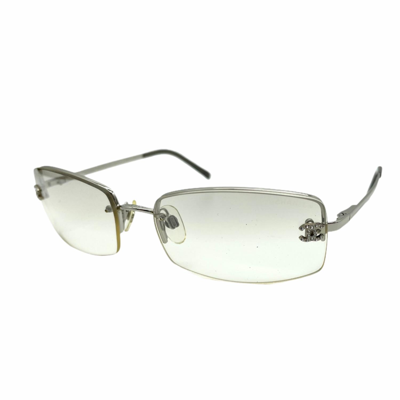 Vintage Chanel Diamante Rimless Sunglasses in Silver