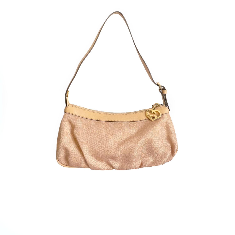 Vintage Gucci Monogram Mini Shoulder Bag in Baby Pink/Nude and Gold | NITRYL