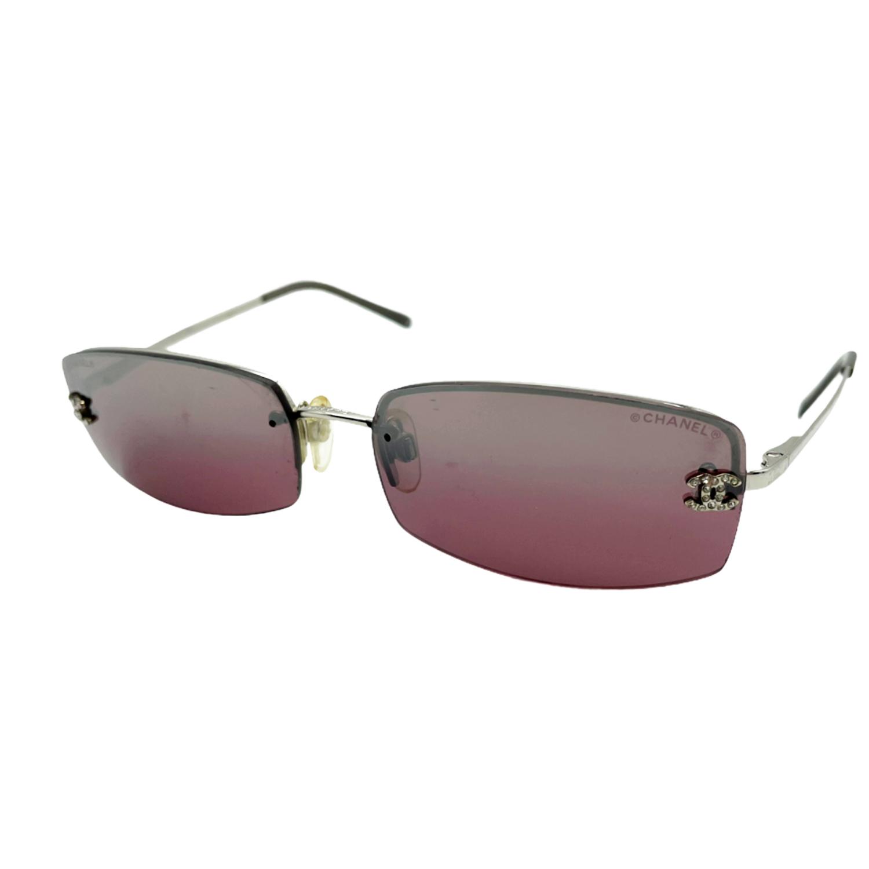 Vintage Chanel Diamante Rimless Sunglasses in Maroon/Brown | NITRYL
