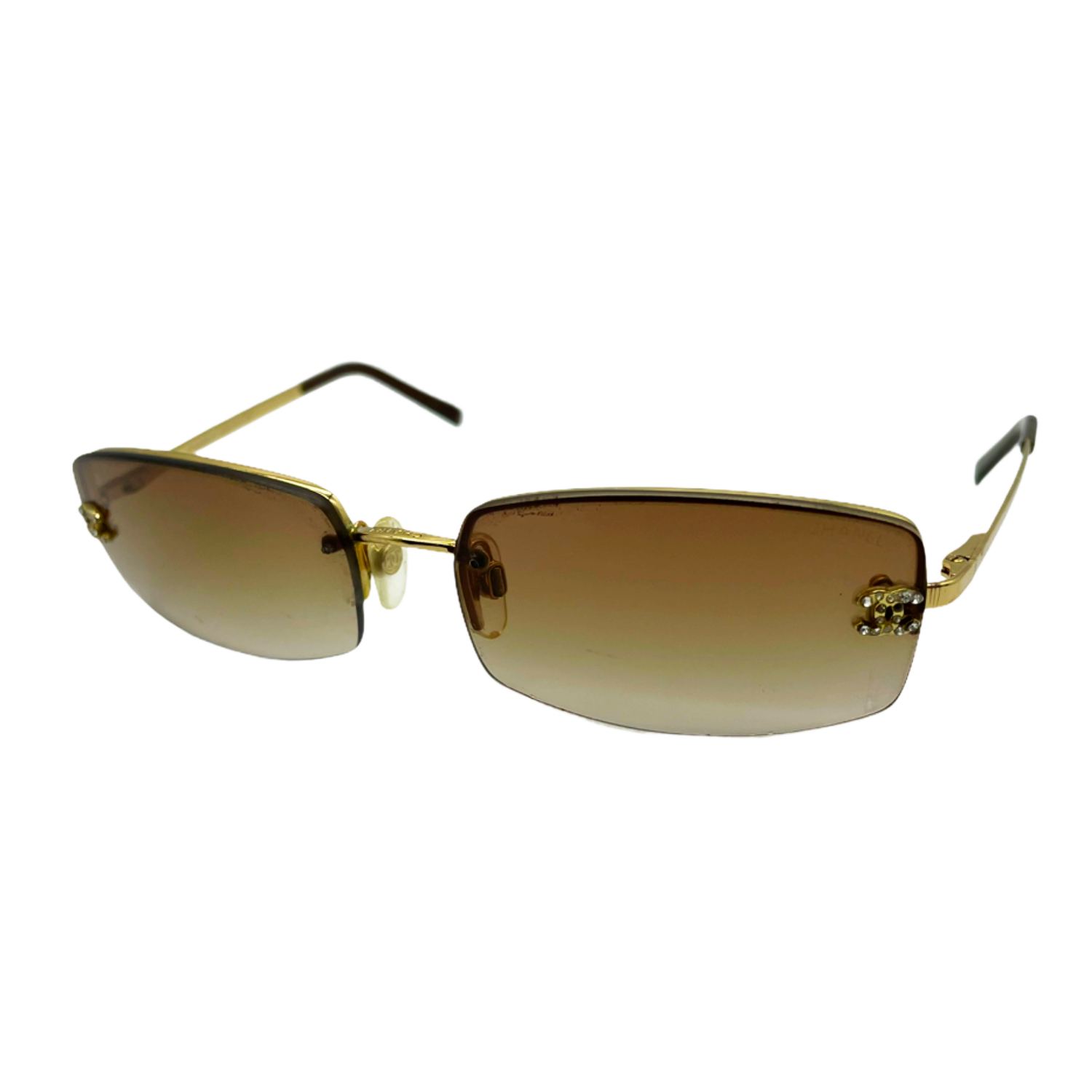 Vintage Chanel Diamante Rimless Sunglasses in Brown and Gold | NITRYL