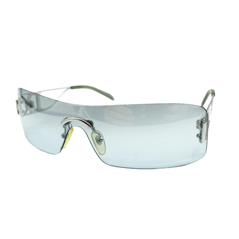 Vintage Dior Rimless Sunglasses in Blue/Silver | NITRYL