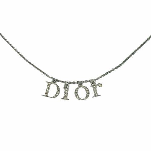 Vintage Dior Diamante Monogram Spellout Necklace in Silver | NITRYL