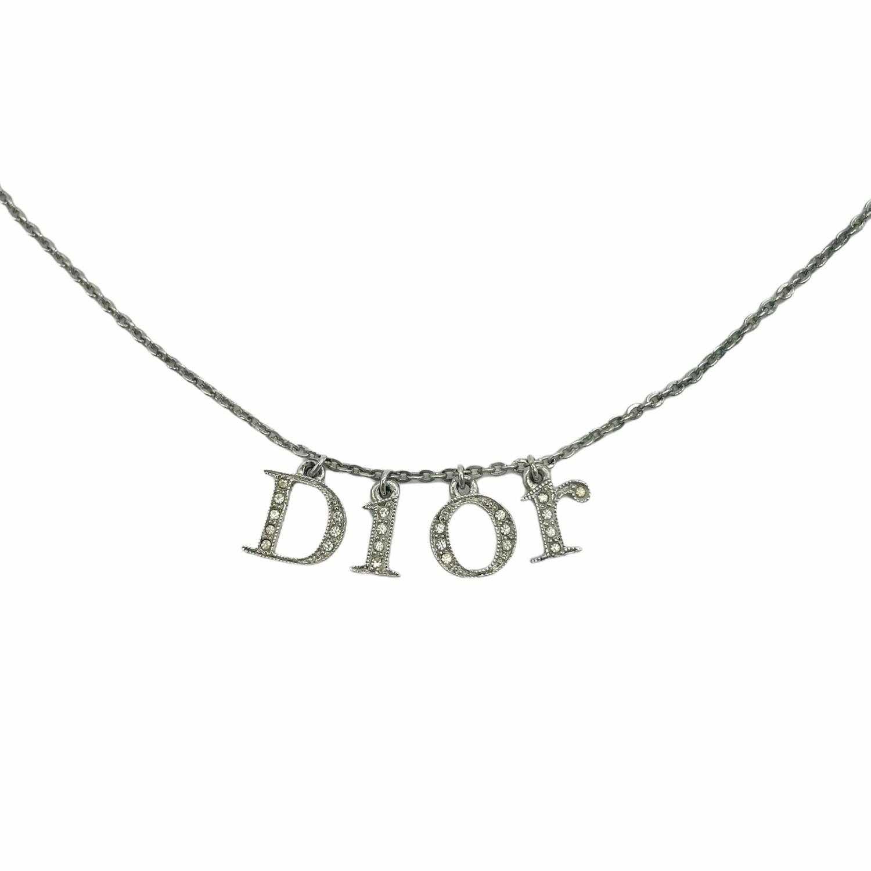 Vintage Dior Diamante Monogram Spellout Necklace in Silver   NITRYL