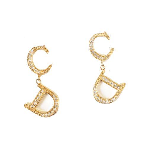 Vintage Dior Diamante CD Drop Earrings in Gold | NITRYL