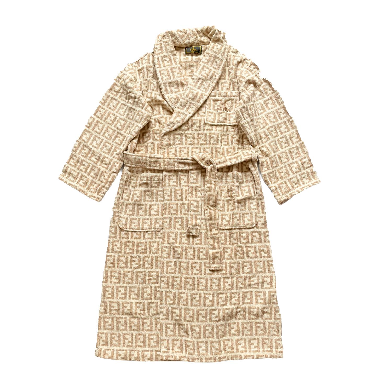 Vintage Fendi Zucca Monogram Towelling Robe/Dressing Gown in Beige/White | NITRYL