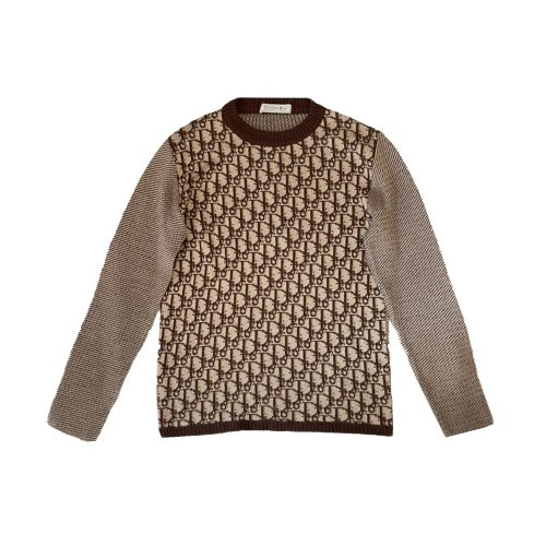 Vintage Dior 1970s Monogram Knitted Jumper in Brown Size S | NITRYL