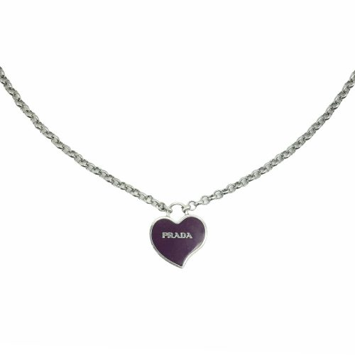 Reworked Prada Heart Logo Necklace in Purple and Silver | NITRYL