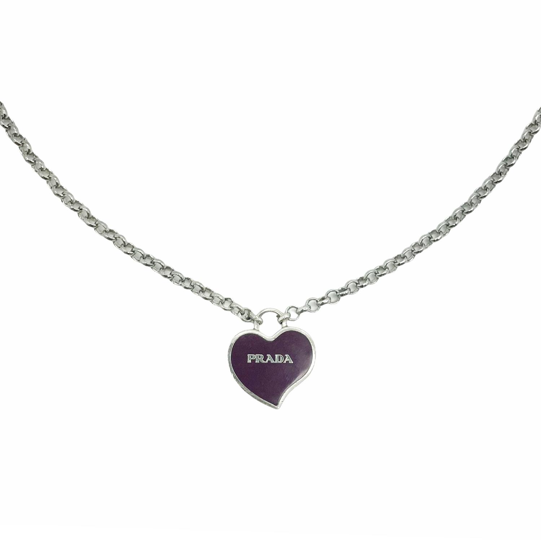 Reworked Prada Heart Logo Necklace in Purple and Silver   NITRYL