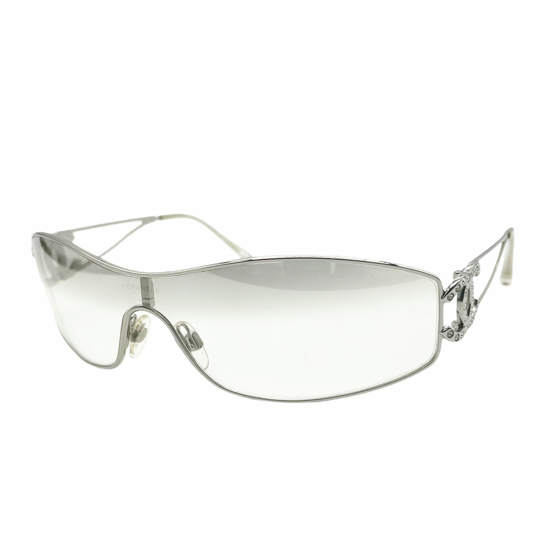 Vintage Chanel Diamante Rimless Visor Sunglasses in Silver | NITRYL