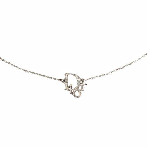 Vintage Dior Diamante Logo Monogram Necklace in Silver | NITRYL