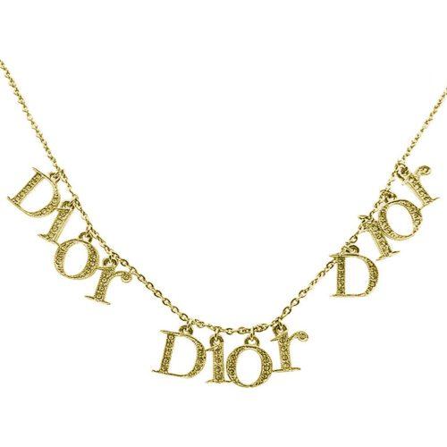 Vintage Dior Diamante Spellout Necklace in Gold | NITRYL