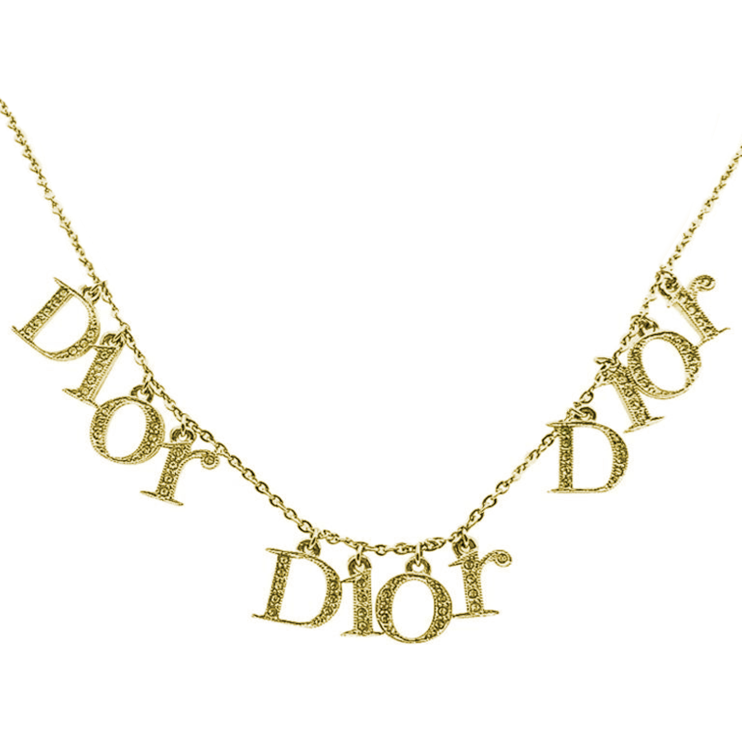 Vintage Dior Diamante Spellout Necklace in Gold | NITRYL