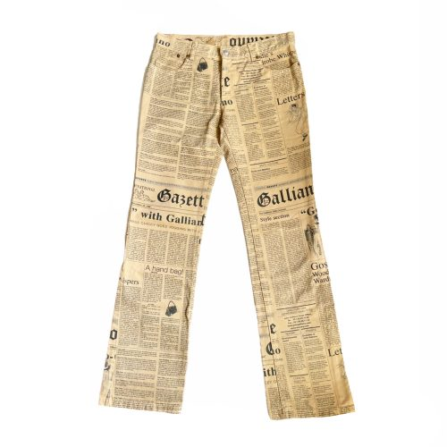 Vintage John Galliano Newspaper Gazette Bootleg Jeans in Beige | NITRYL