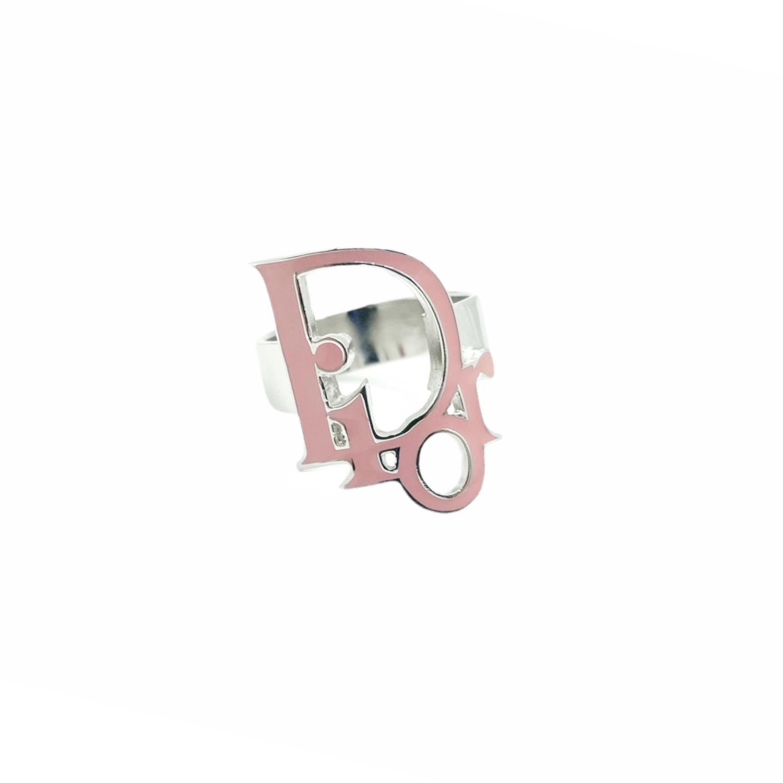 Vintage Dior Logo Monogram Enamel Ring in Pink and Silver | NITRYL