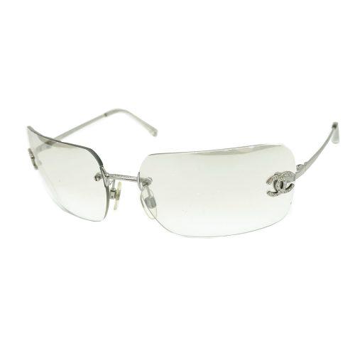 Vintage Chanel Diamante Rimless Sunglasses in Clear/Silver | NITRYL
