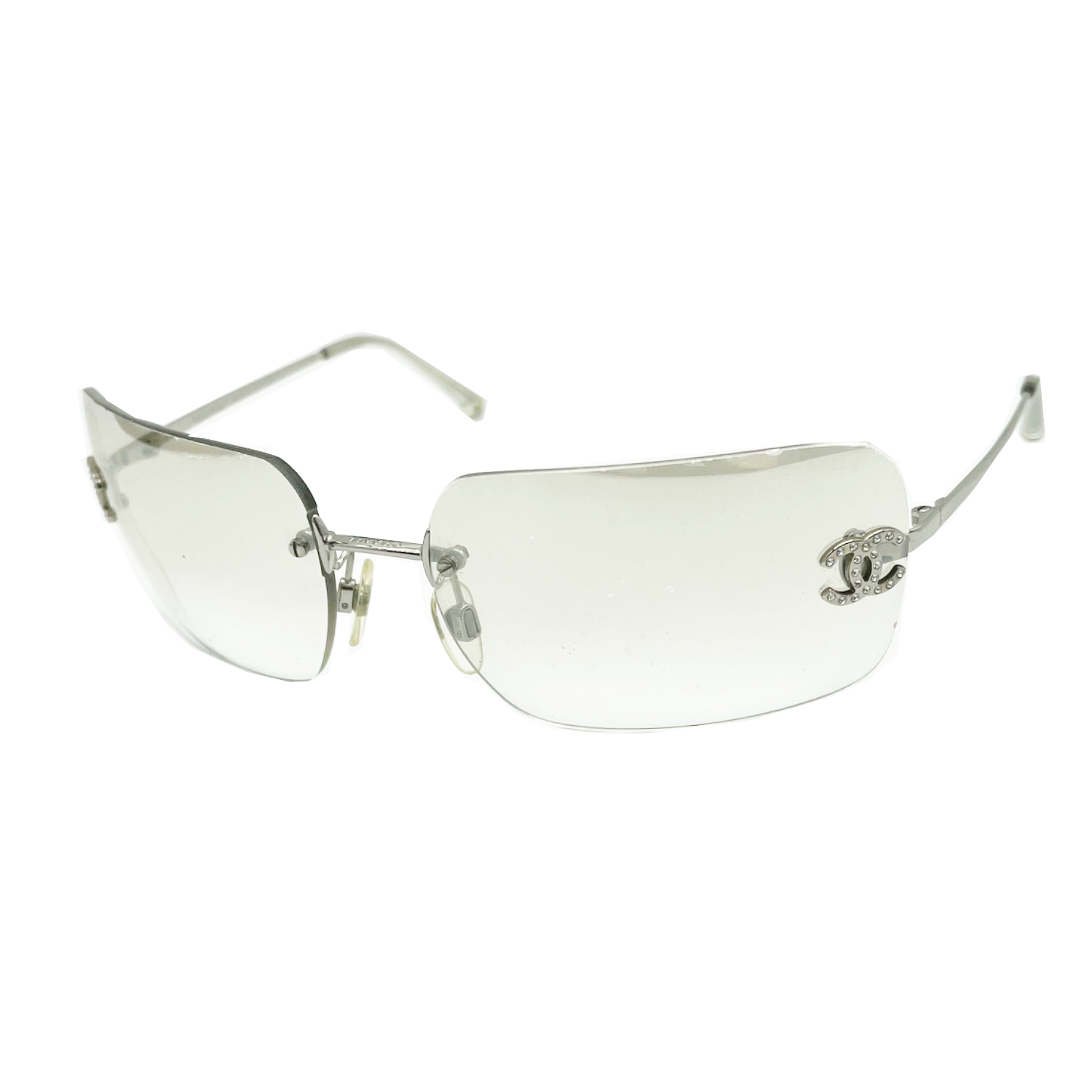 Vintage Chanel Diamante Rimless Sunglasses in Clear/Silver | NITRYL