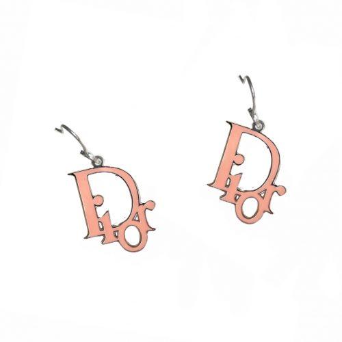 Vintage Dior Monogram Logo Enamel Earrings in Pink and Silver | NITRYL