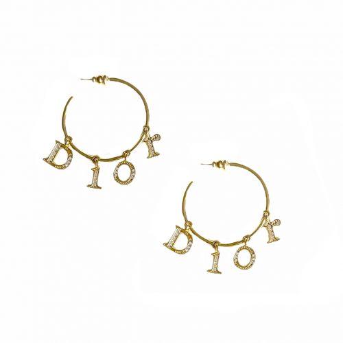 Vintage Dior Diamante Spellout Hoop Earrings in Gold | NITRYL
