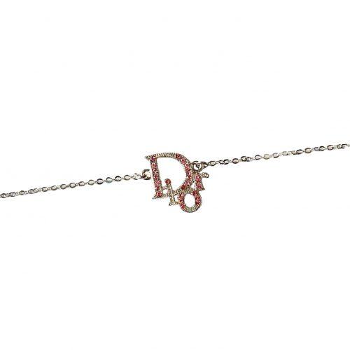 Vintage Dior Diamante Logo Necklace in Silver and Baby Pink | NITRYL
