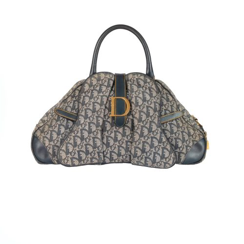 Vintage Dior Monogram Double Saddle in Navy | NITRYL