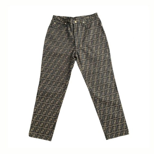 Vintage Fendi Zucca Monogram High Rise Straight Leg Trousers | NITRYL