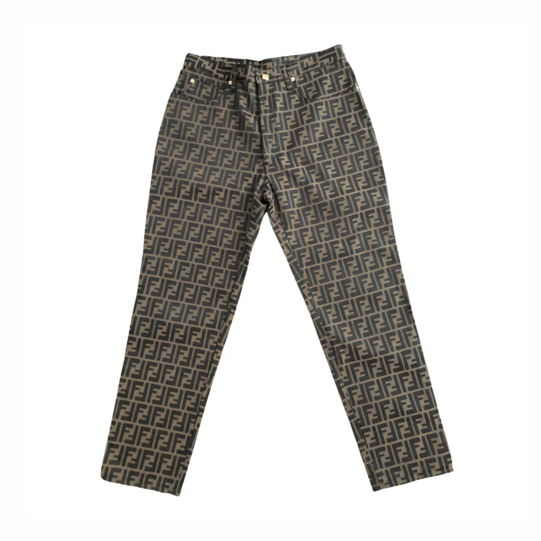 Vintage Fendi Zucca Monogram High Rise Straight Leg Trousers | NITRYL