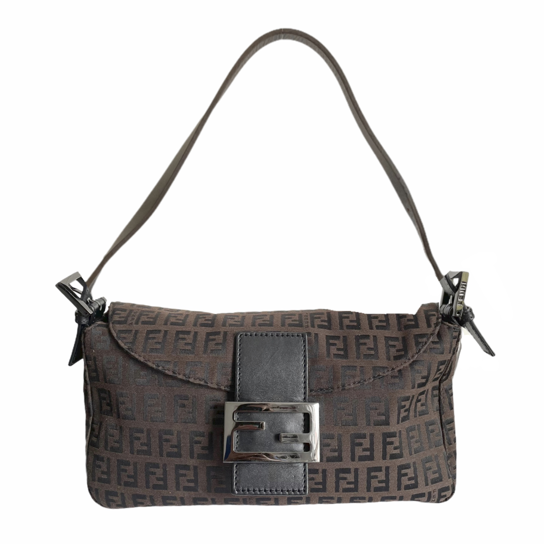 Vintage Fendi Monogram Baguette Shoulder Bag in Dark Brown | NITRYL