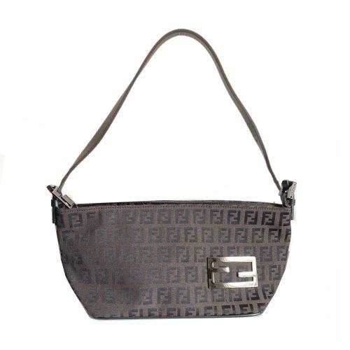 Vintage Fendi Monogram Mini Baguette Shoulder Bag in Dark Brown | NITRYL