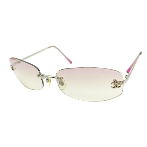 Vintage Chanel Rimless Ombre Sunglasses in Baby Pink | NITRYL