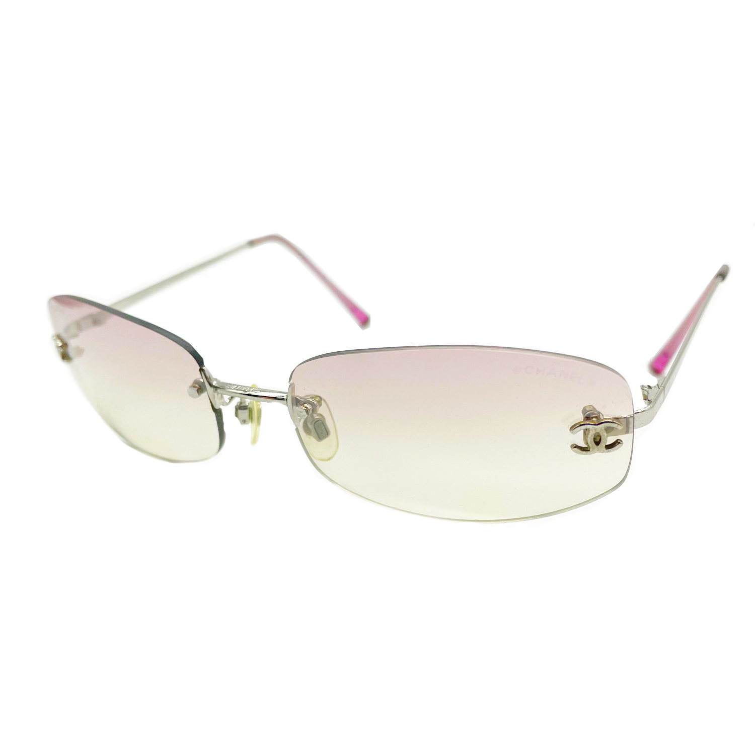 Vintage Chanel Rimless Ombre Sunglasses in Baby Pink   NITRYL