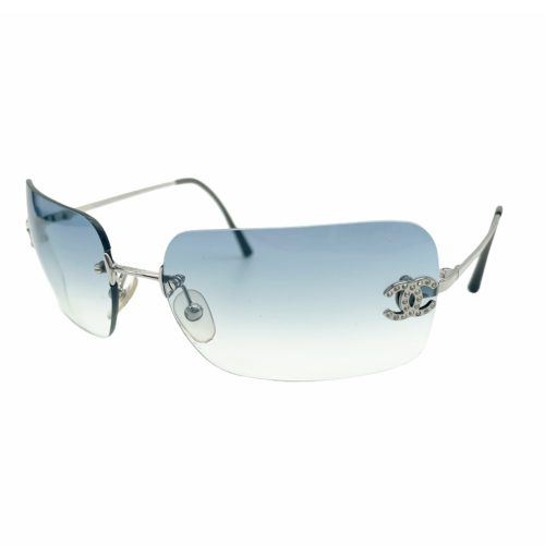 Vintage Chanel Diamante Rimless Sunglasses in Baby Blue | NITRYL
