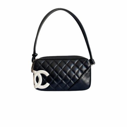Vintage Chanel Cambon Logo Pochette in Black and White   NITRYL