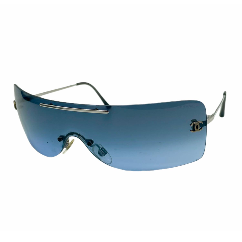 Vintage Chanel Rimless Visor Sunglasses in Blue | NITRYL