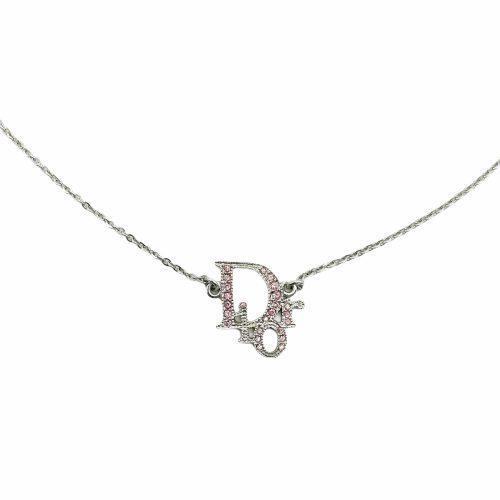 Vintage Dior Diamante Monogram Logo Necklace in Silver/Pink | NITRYL